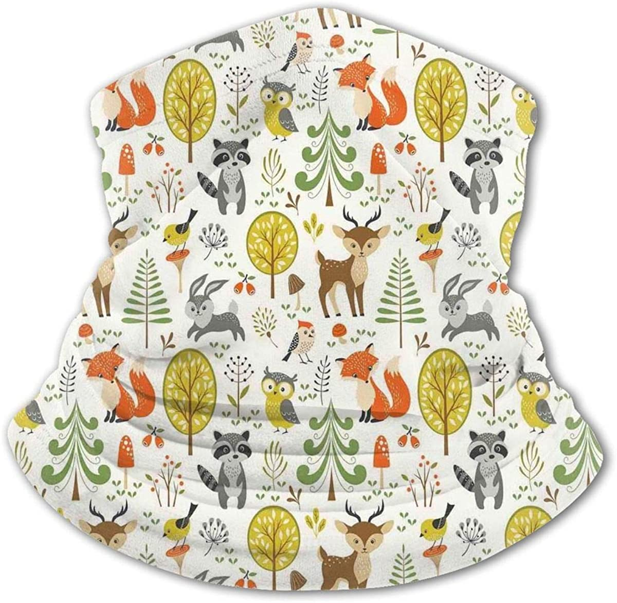 Birds Owls Fox Bunny Deer Raccoon Mushroom Kids Bandanas Reusable Washable Neck Gaiter Balaclava,Half Face Protective Masks