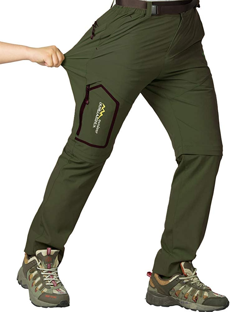 Womens Hiking Safari Pants Outdoor Zip Off to Shorts Lightweight Quick Dry Stretch Travel Pants (Army Green, 34)