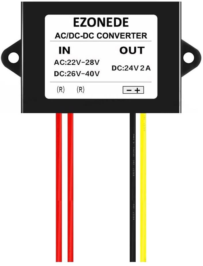 Stayhome 1PCS 24VAC to 24VDC 2A 48W AC to DC Converter Step Down Power Supply Transformer Module Voltage Regulator AC22-28V/DC26-40V to 24V