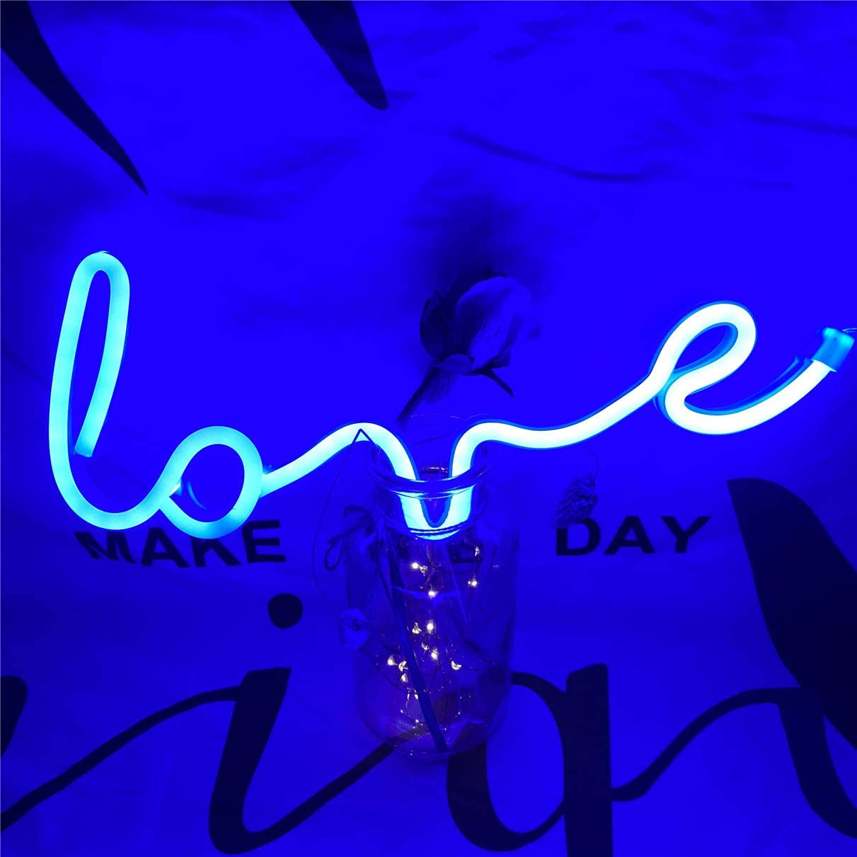 Neon Art Love Signs Light LED Love Kids Gift-Decorative Marquee Sign for Wall Room Wedding Party Bar Pub Hotel Beach Recreational (Blue)
