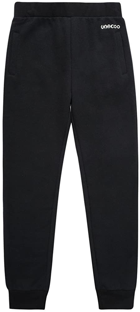 UNACOO Boys Casual Soft French Terry Cotton Pull-on Jogger Pants with 2-Pocket