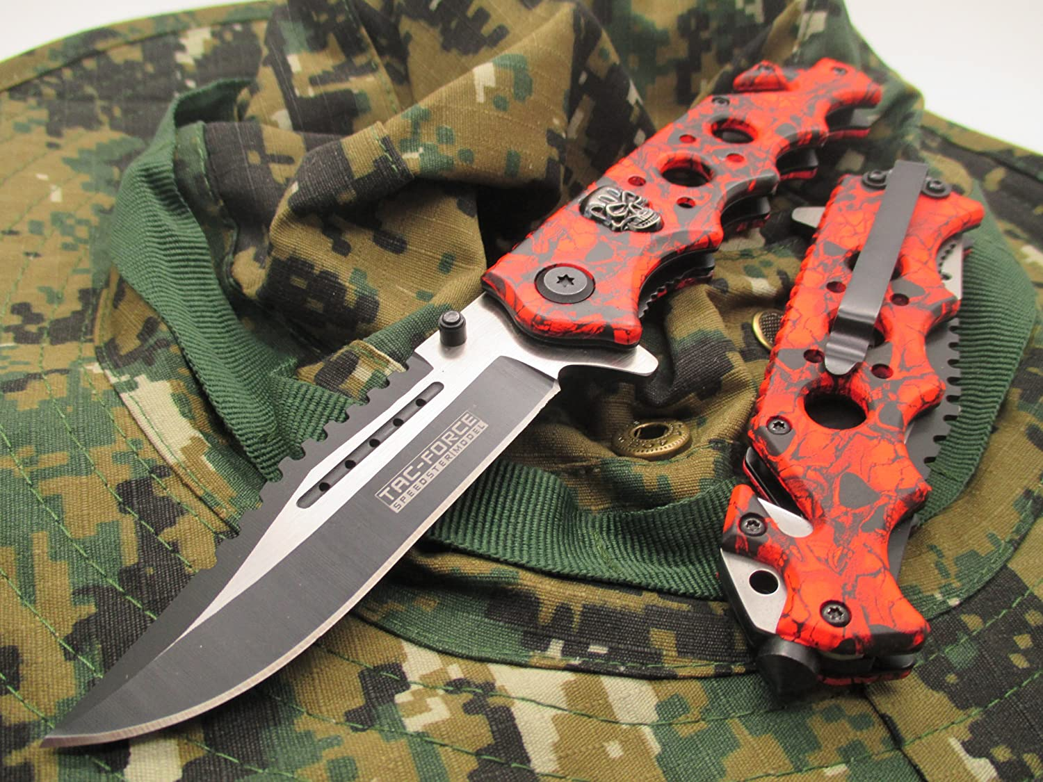New TAC-Force Assisted Opening Linerlock Red & Black w/Skull Design A/O Speed Rescue Glass Breaker Knife