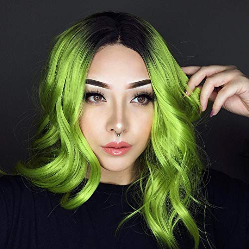 Sapphirewigs Black Ombre Green Color Short Water Wave Beauty Blogger Celebrity Women Daily Makeup Natural Hairline Synthetic Lace Front Cosplay Wedding Party Wig