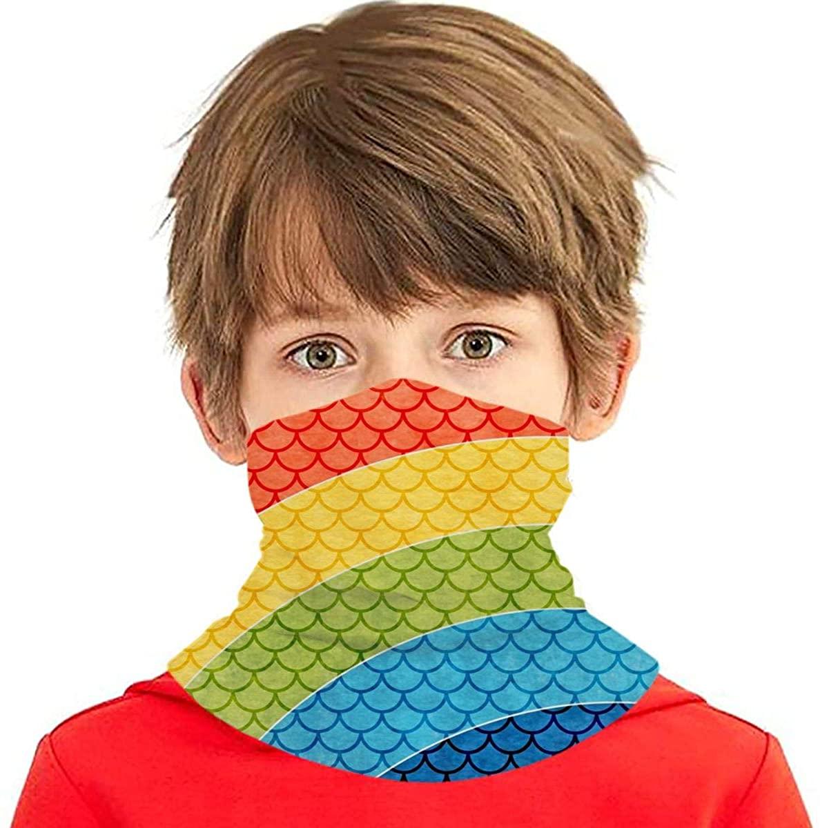 Rainbow Mermaid - Face Mask - Kids Sibling Bandanas Face Magical Multi Funtion UV Protectio Neck Gaiter Headband - Boys Girls Dust Block Balaclavas