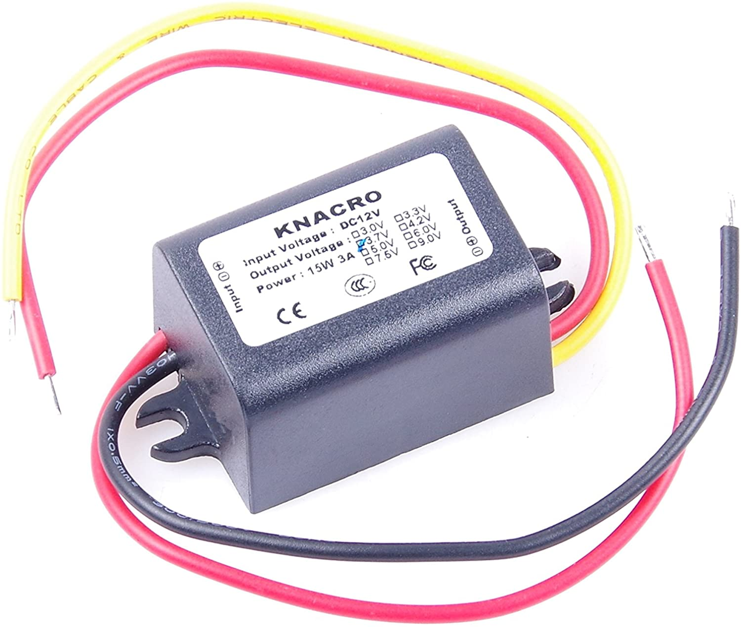KNACRO DC-DC 12V to 3.7V 3A Step-Down Power Supply Module Car Power Converter Module Synchronous Buck Over-Temperature Over-Current Short Circuit Protection Suitable (DC 3.7V 3A, Black)