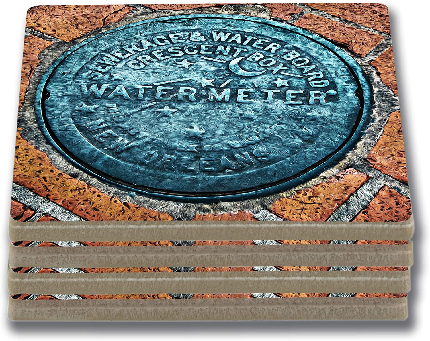 EXIT82ART - Stone Drink Coasters (Set of 4) New Orleans French Quarter Water Meter. Tumbled Stone, Cork-backed.