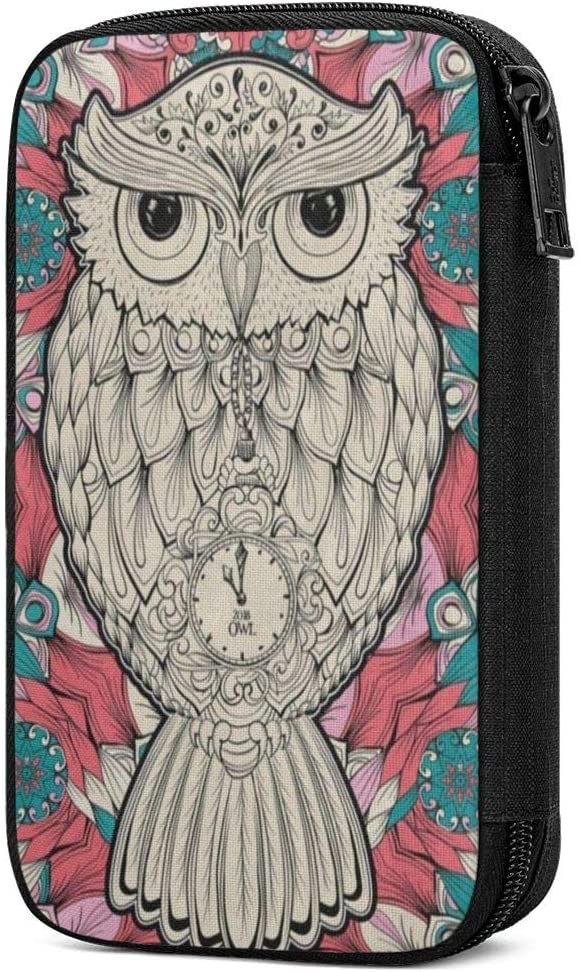 Electronics Accessories Organizer Bag Tribal Owl Bird Floral Flower Portable Digital Storage Bag for Cable Power Bank Charger Charging Cords Mouse Adapter Earphones Out-Going Business Travel Gadget Ba