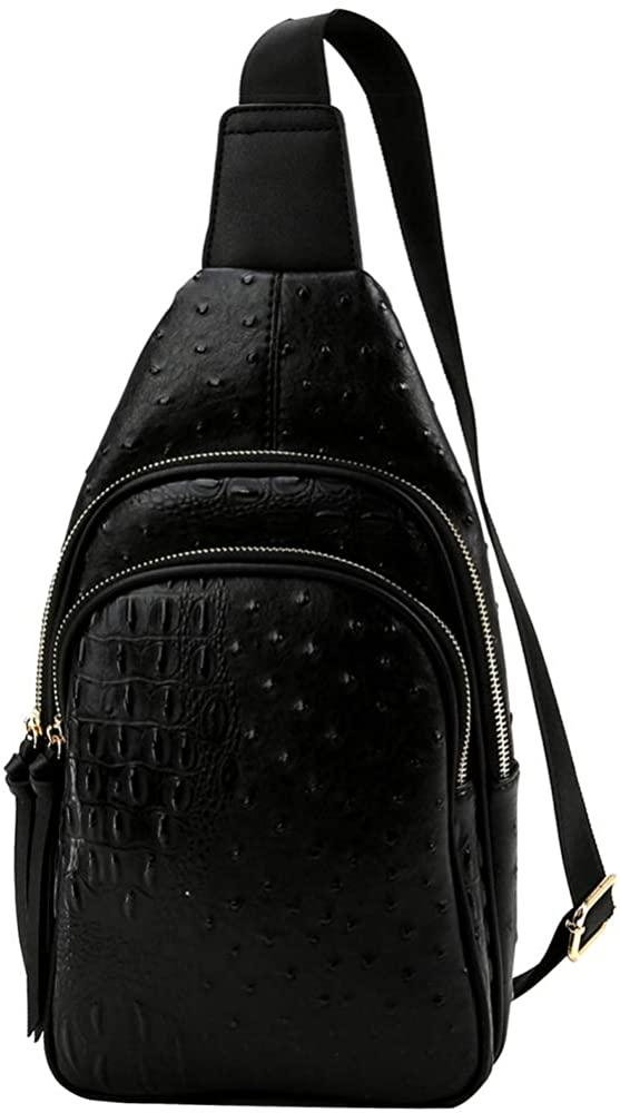 Multi-Pocket Vegan Leather Fashion 2 Way Medium Slim Pocket Backpack Shoulder Bag