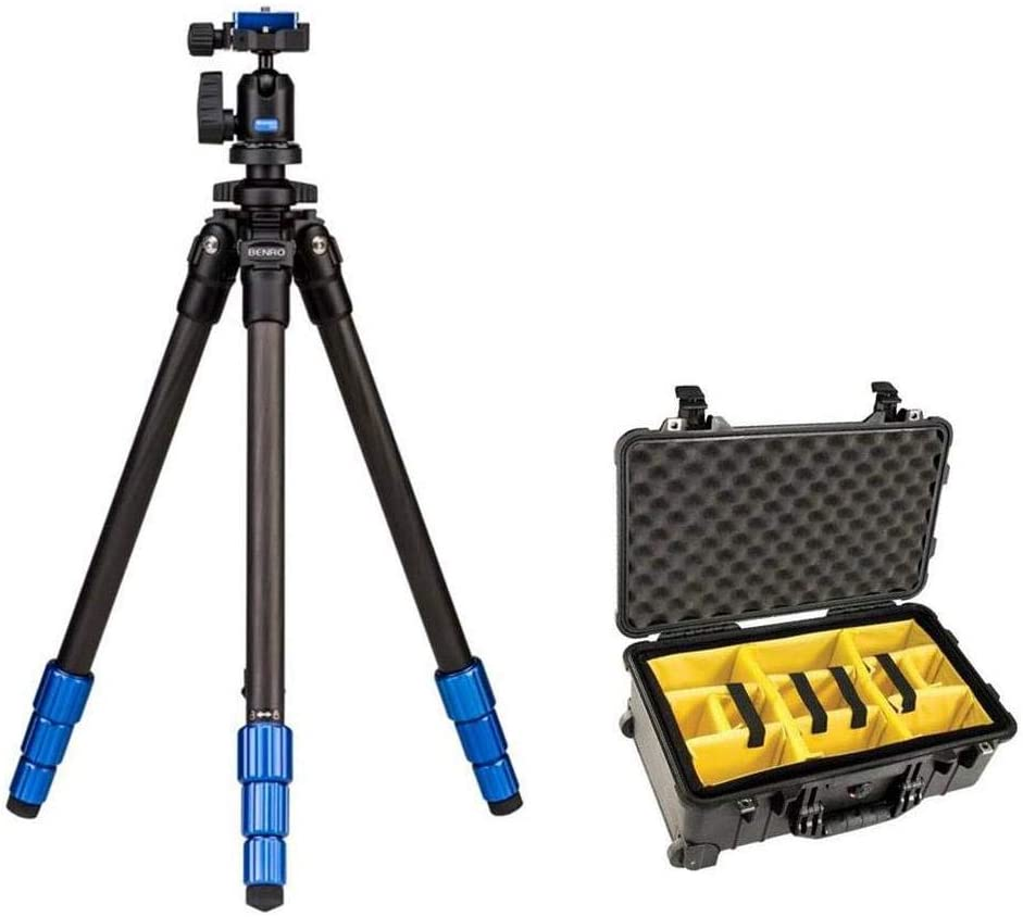 Pelican 1510 Camera Case w/Dividers & Wheels Bundled w/Benro Slim Tripod Kit