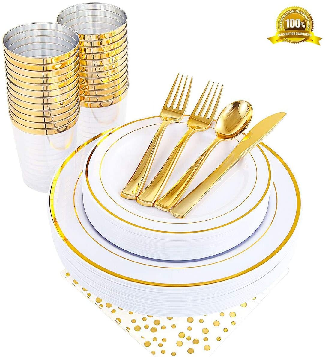 ENUOSUMA 200 Piece Plastic Plates, Dinnerware & Cups Set - Gold Rim Plates -Disposable Tableware include Dinner Plates Salad Plates, Cups, Spoons, Forks, Knives &Napkins for Wedding or Party