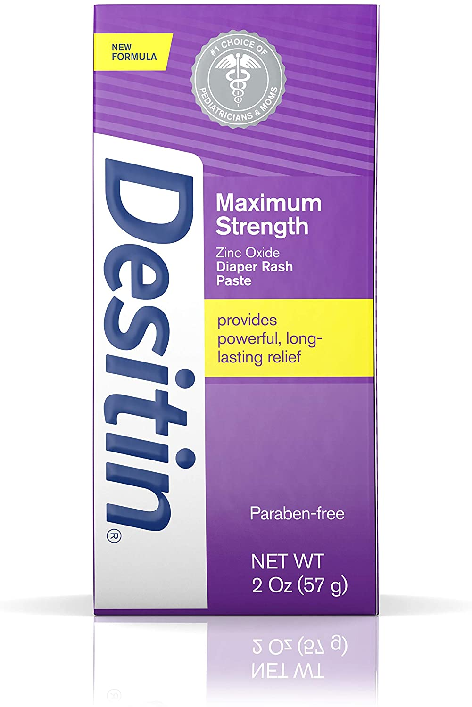 Desitin Maximum Strength Baby Diaper Rash Cream with 40% Zinc Oxide, Travel Size, 2 oz