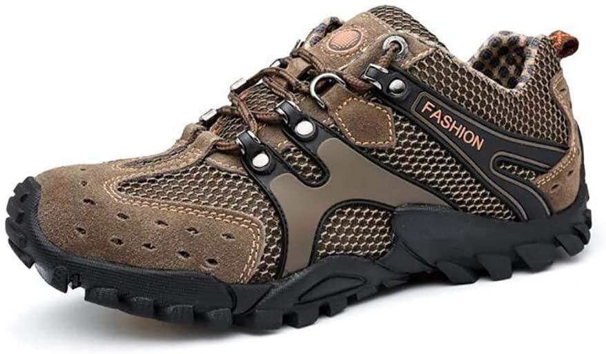 WAWB Hiking Shoes Men Waterproof Hiking Shoes Breathable Lightweight Cushioning for Trekking Camping Sport Outdoor,Khaki,39