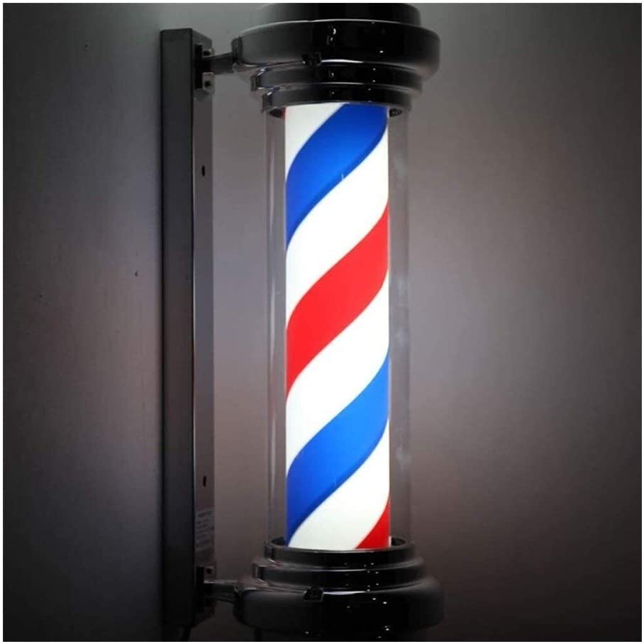 QIENON Waterproof Barber Pole LED Light for Hair Salon Barber Shop Open Sign Red White Blue Strips Rotating Wall Hanging Lamp 406