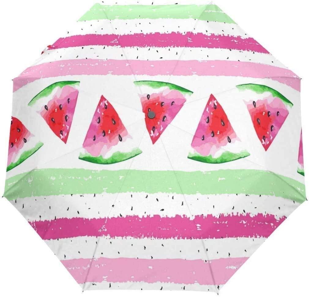 ASDF Automatic Umbrellas Geometrical Fruit Watermelon Anti-Slip Windproof Compact Rain Umbrella for Women Men
