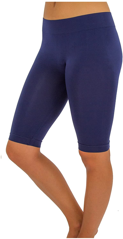 TD Women's Comfy Bike Yoga Short Legging Bermuda (S-M, Navy)