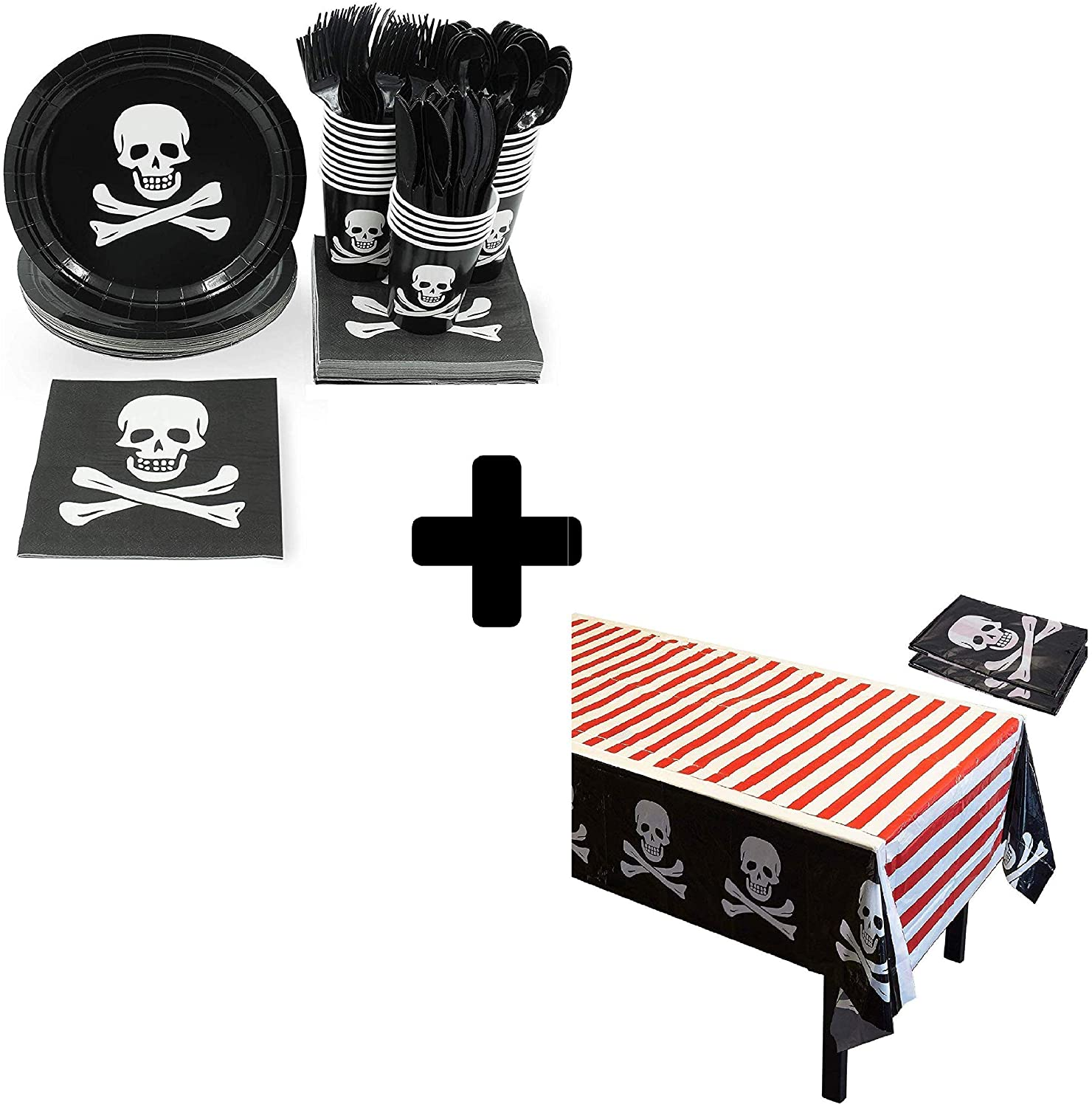 Pirate Party Bundle with Disposable Tableware and Tablecloths (147 Pieces)