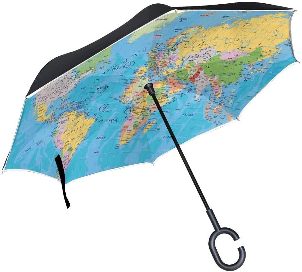 SLHFPX Inverted Umbrella World Map Auto Reverse Umbrella Automatic UV Protection Windproof for Car Rain Sun Outdoor Black