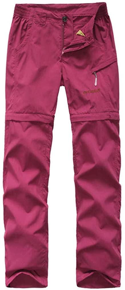 mansmoer Women's Outdoor Wicking Detachable Zip Off Leg Pants Lady Camping Pants