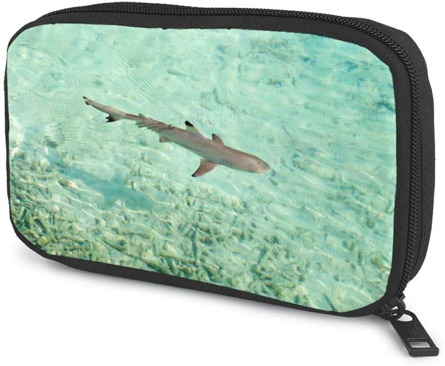 Travel Cable Organizer Shark On The Water Universal Electronics Accessories Storage Bag for Cord, Earphone, USB Flash Drive, Memory Card and More, Lightweight and Compact