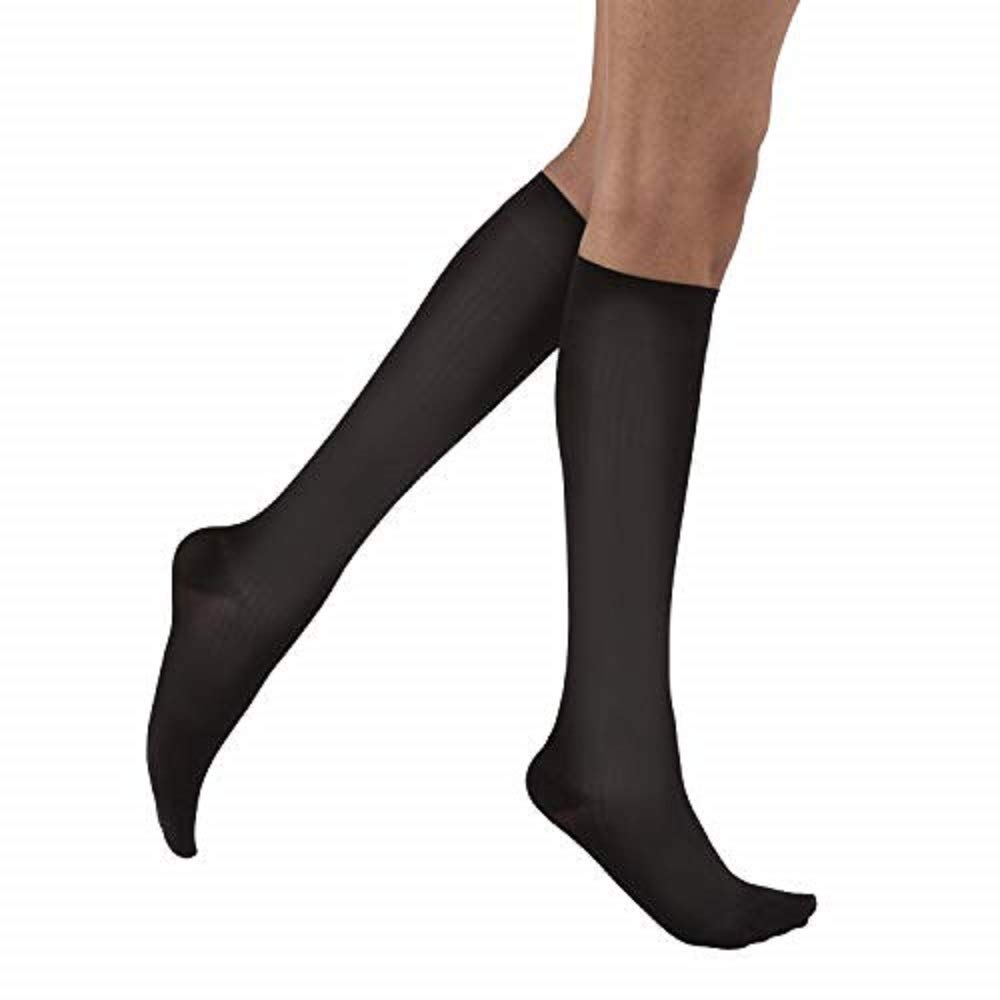 JOBST soSoft Knee High Closed Toe Ribbed Brocade Compression Stockings,, Breathable, Extra Soft Legware for Tired and Heavy Legs, Compression Class- 8-15