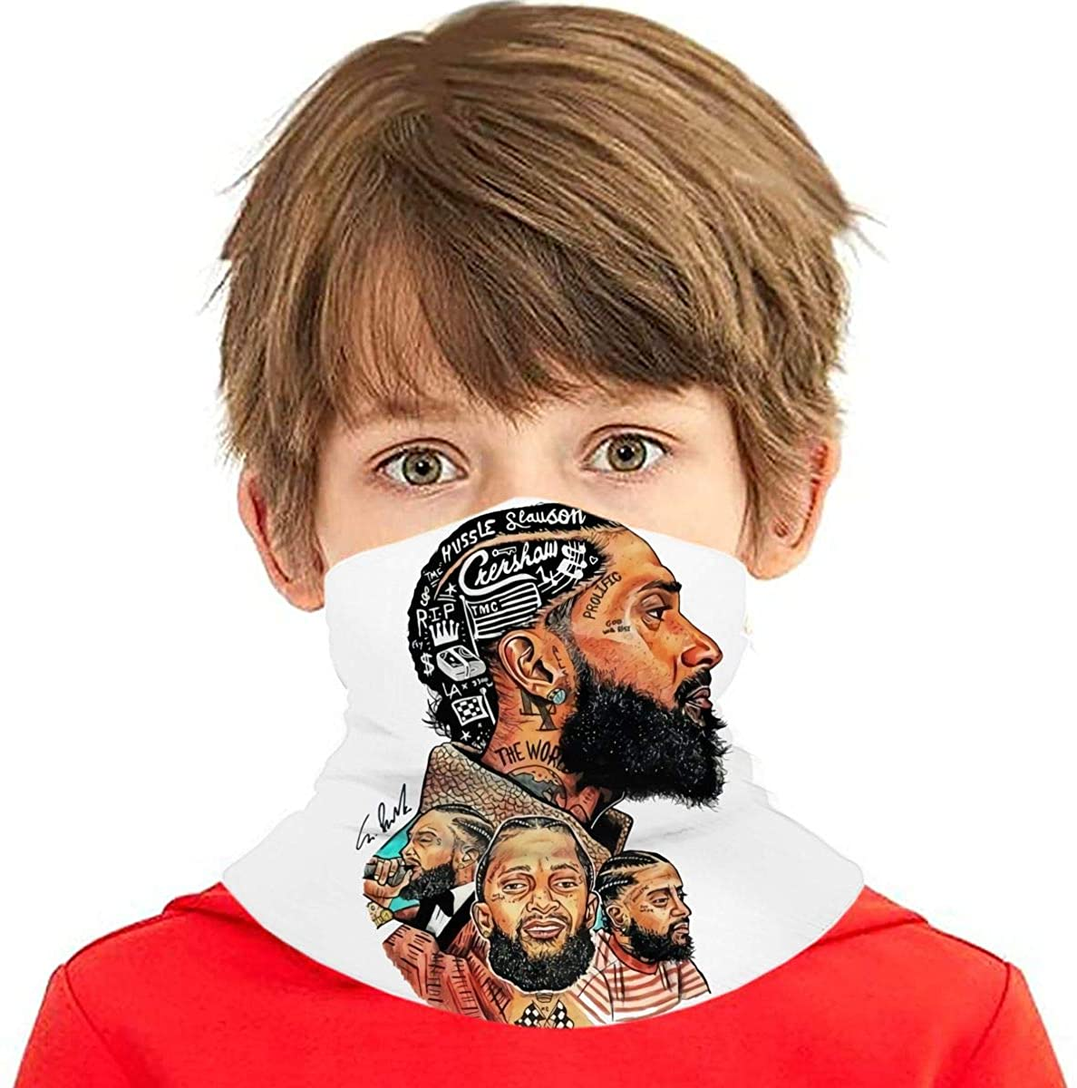 Nip-Sey+Hu=Ssle Multi Faceted Avatar Signature Pattern Seamless Face Cover/Headband,Scarf for Boy/Girl Black