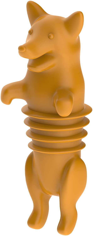 True Zoo Wine Bottle Stopper Corki Animal Cork, Set of 1, Orange