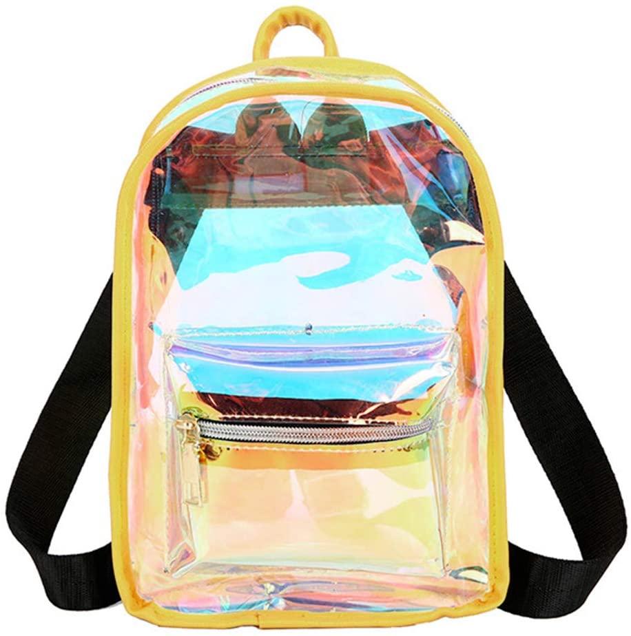Jascaela Clear Hologram Mini Backpack Waterproof PVC Shoulder Bag Casual Travel Daypack for Women Girls (Yellow)