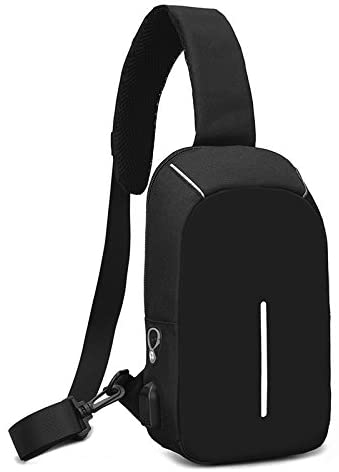 Almiao Men's Sling Shoulder Bag Chest Bags Outdoor Crossbody Backpack, with USB Charger Port & Headphone Hole (Black)