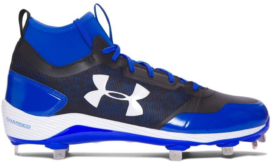 Under Armour New Mens Heater Mid ST Baseball Cleats Blue/Black - Pick Size!