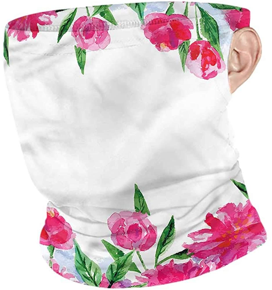 VIVIOTendance Face Cover Flower,Watercolor Style Flowers Seamless UV Protection