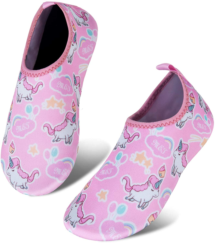 IceUnicorn Toddler Water Shoes Kids Quick Dry Water Swim Socks Boys Girls Non Slip Aqua Socks for Beach Swim Pool(Pink Toddler Size 3)