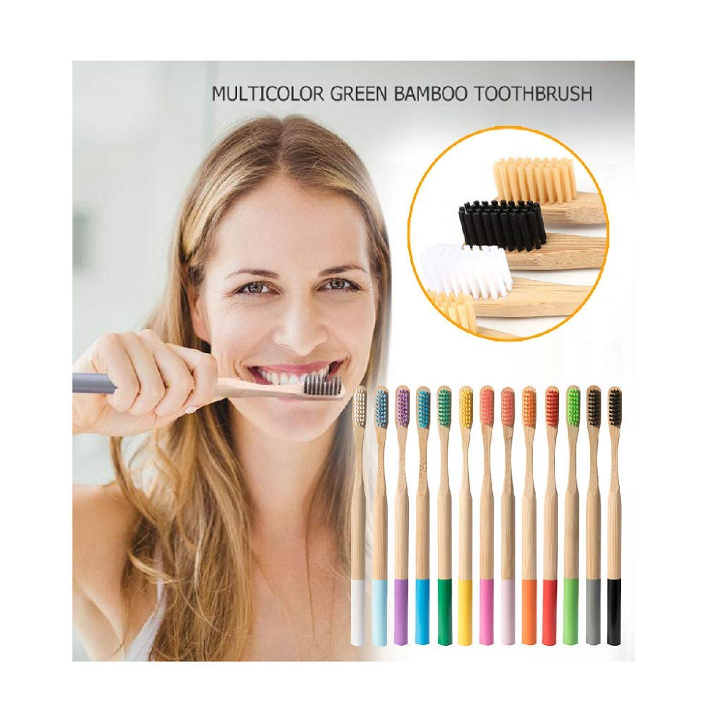 13pc Eco-Friendly Bamboo Soft Fibre Toothbrush Gradable Teeth Brush Care Teeth Whitening Child toothbrush (A)