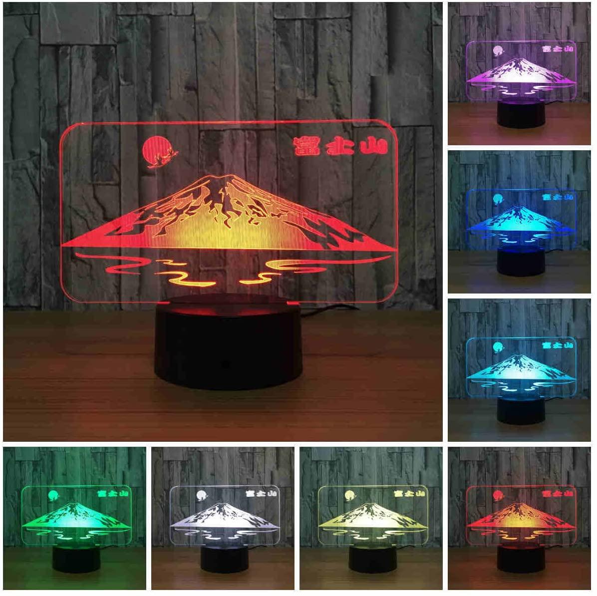 Japan's Mount Fuji Shape 3D Lamp Sun Colorful LED 3D Night Light Snow Mountain Desk Table Lamp USB Decorative Lamp (Changeable)