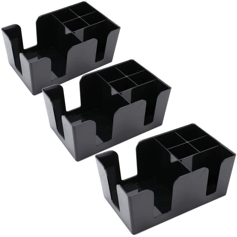 Tebery 3 Pack Bar Caddy with 6 Compartments,Barware Caddy, Bar Caddy Napkin Dispenser, Straw Organizer - 9