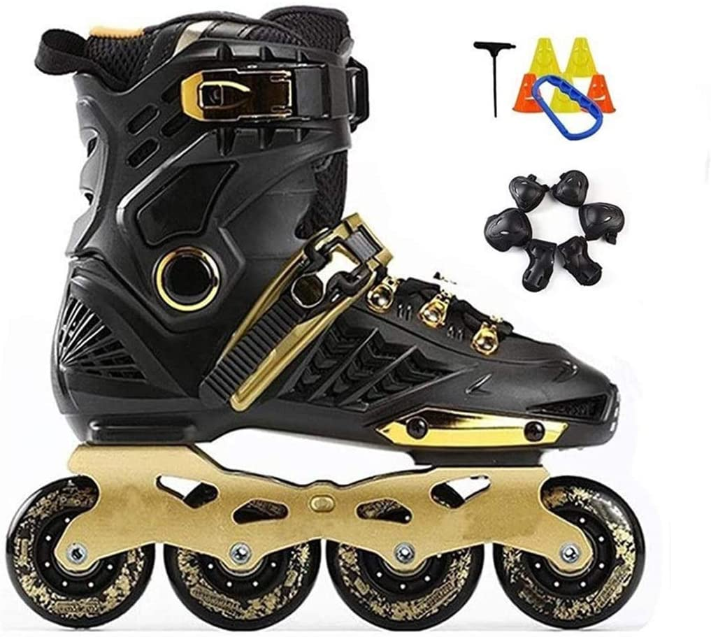 QL Advanced Adult Roller Skates Professional Skating Inline Skates Shoes 4 Wheels Size 35-44 Women Men Roller Skates (Color : Black, Size : 37 EU/5 US/4 UK/23.5cm JP)