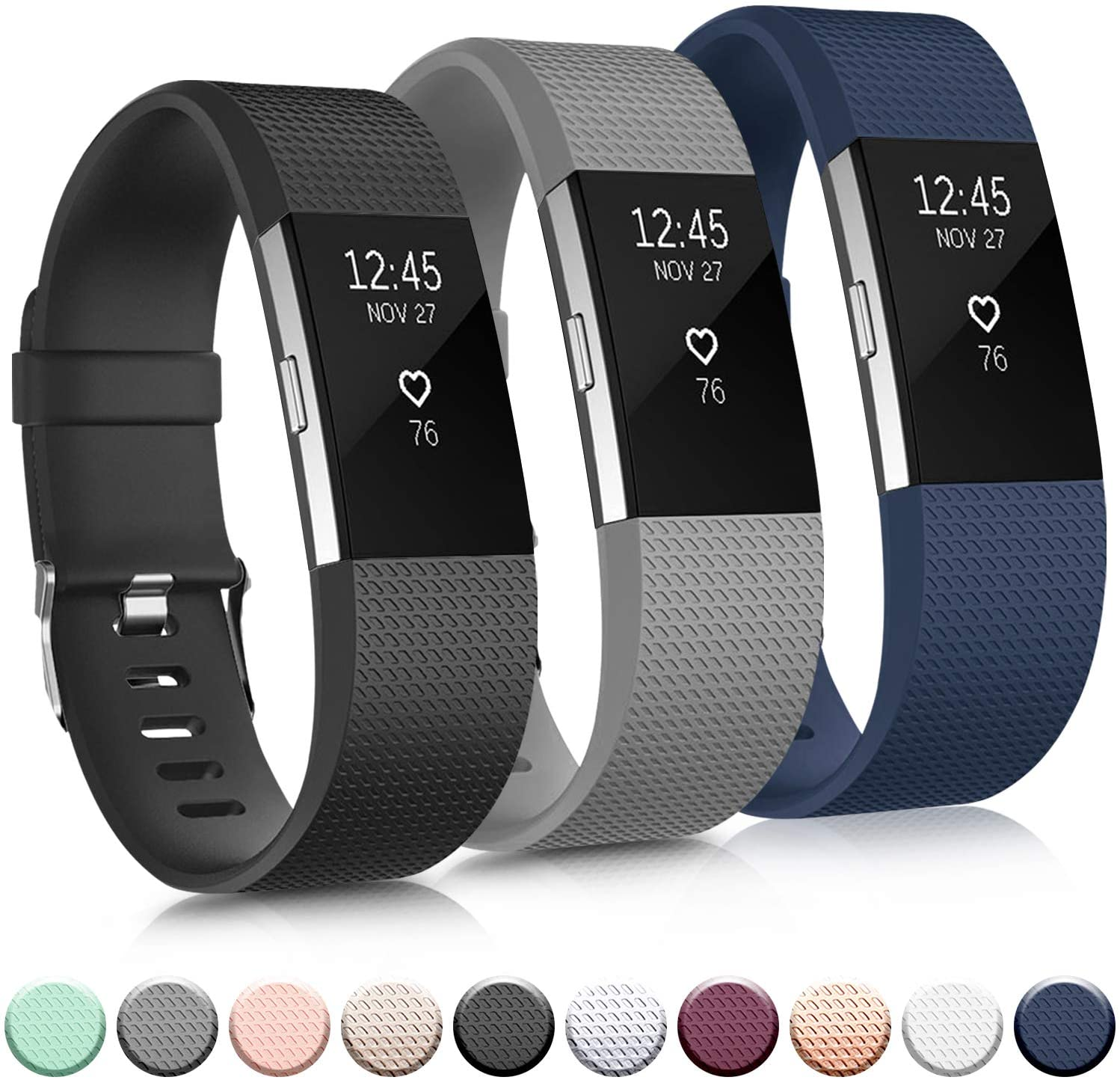 Pack 3 Replacement Bands Compatible for Fitbit Charge 2 Bands, Adjustable Accessory Soft Silicone Sport Wristband for Women Men (Large, Black+Grey+Navy Blue)