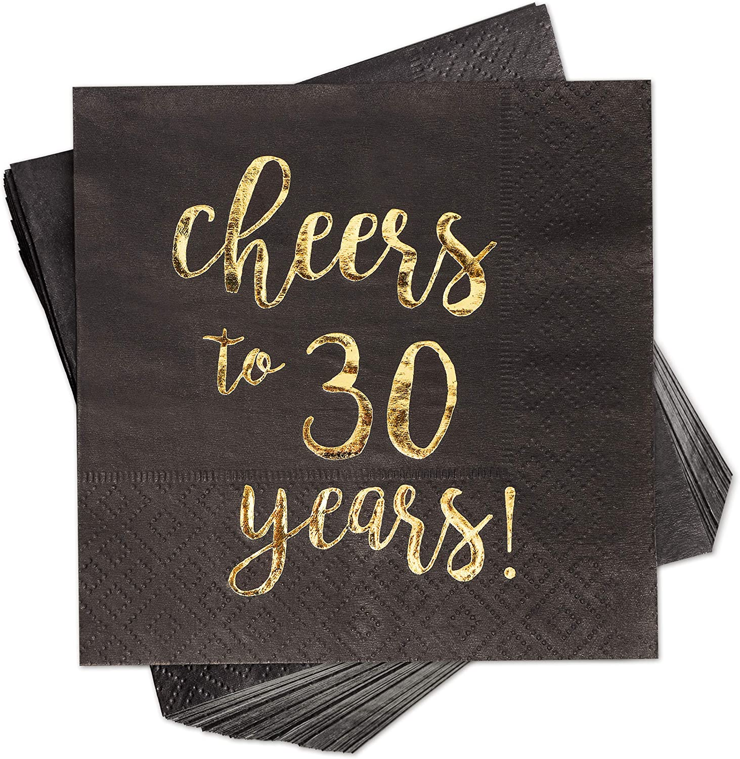 Cheers to 30 Years! Gold Foil Paper Cocktail Napkins (5 x 5 Inches, 100 Pack)