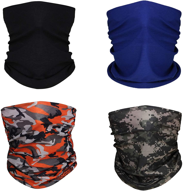 BOTINDO Neck Gaiter 4 Pack Face Bandana Summer UV Protection Face Cover Women Men for Sports & Outdoors