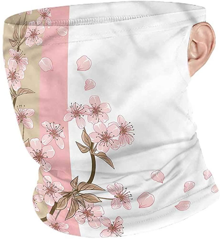 Neck Warmer Japanese,Romantic Sakura Blooms Neck Gaiter Tube Headwear Bandana