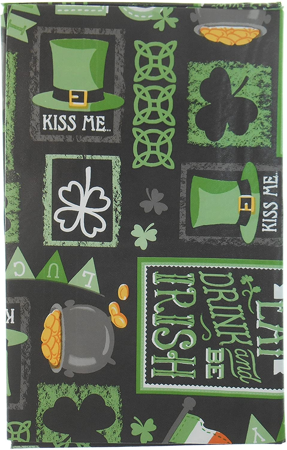 Chalkboard St. Patrick's Day Vinyl Tablelcloth with Clovers, Horseshoes, Leprechaun's Hat, Pot O' Gold, Irish Flag and More - Flannel Backing (52x52)