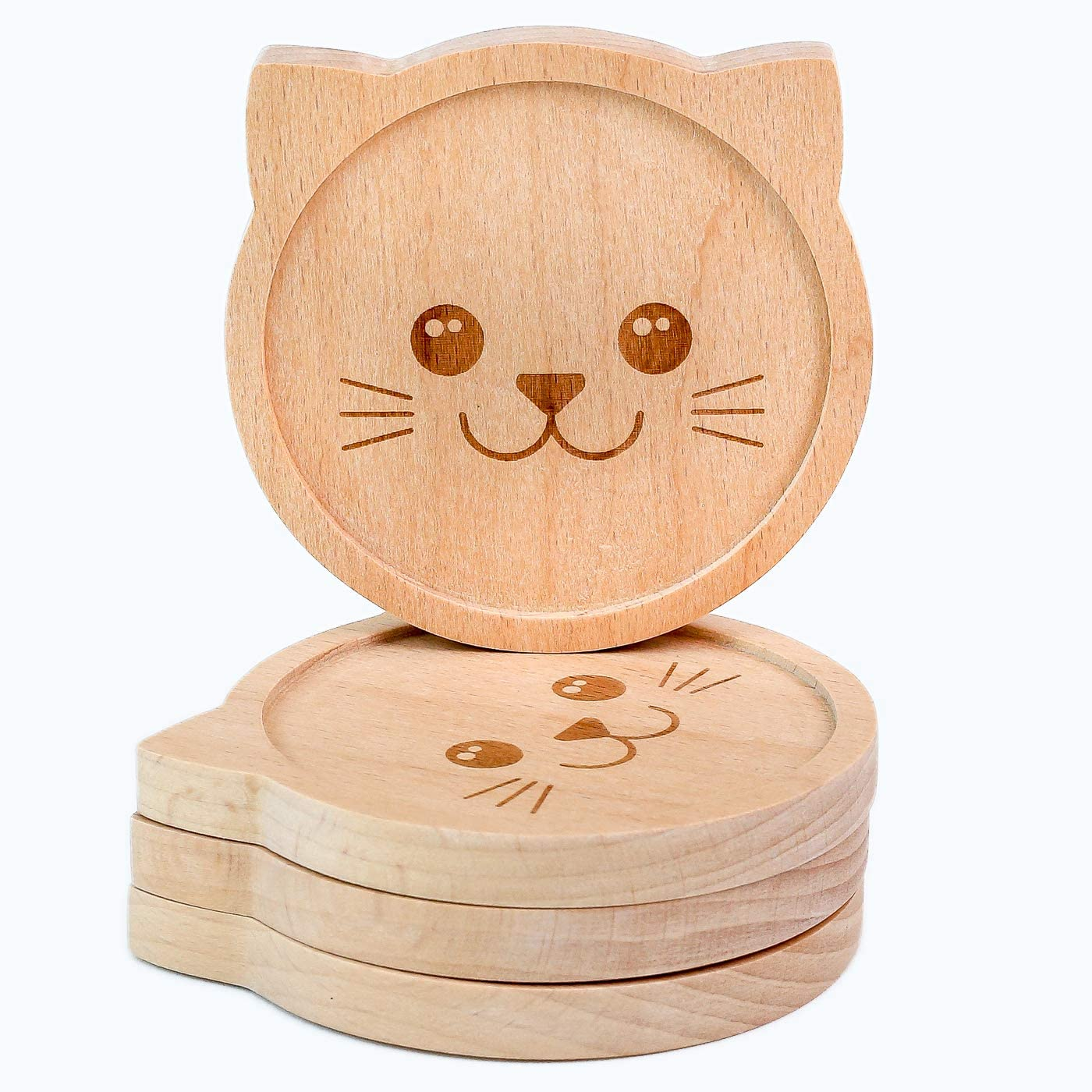 Mirana Set of 4 Natural Wood Drink Coasters, Cat Coasters so Cute & Beautiful, Wooden Coasters, Perfect for Home Decor in Kitchen, Bedroom, Office or Tabletop, Wedding Gift