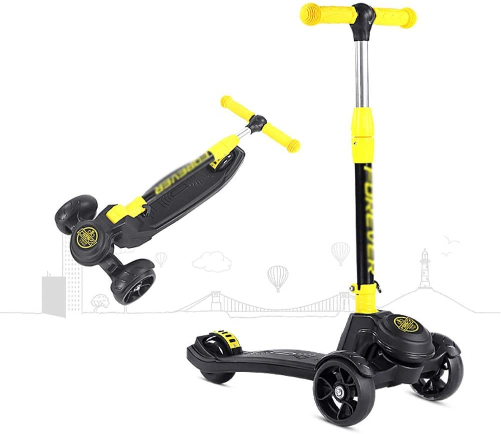 PLLP Child Foldable Scooter-Scooter Kick Folding Kick with Pu Wheel, Adjustable Handle, 264Lbs Capacity, Wide Pedal Kids Board for 80-150Cm Height,Yellow