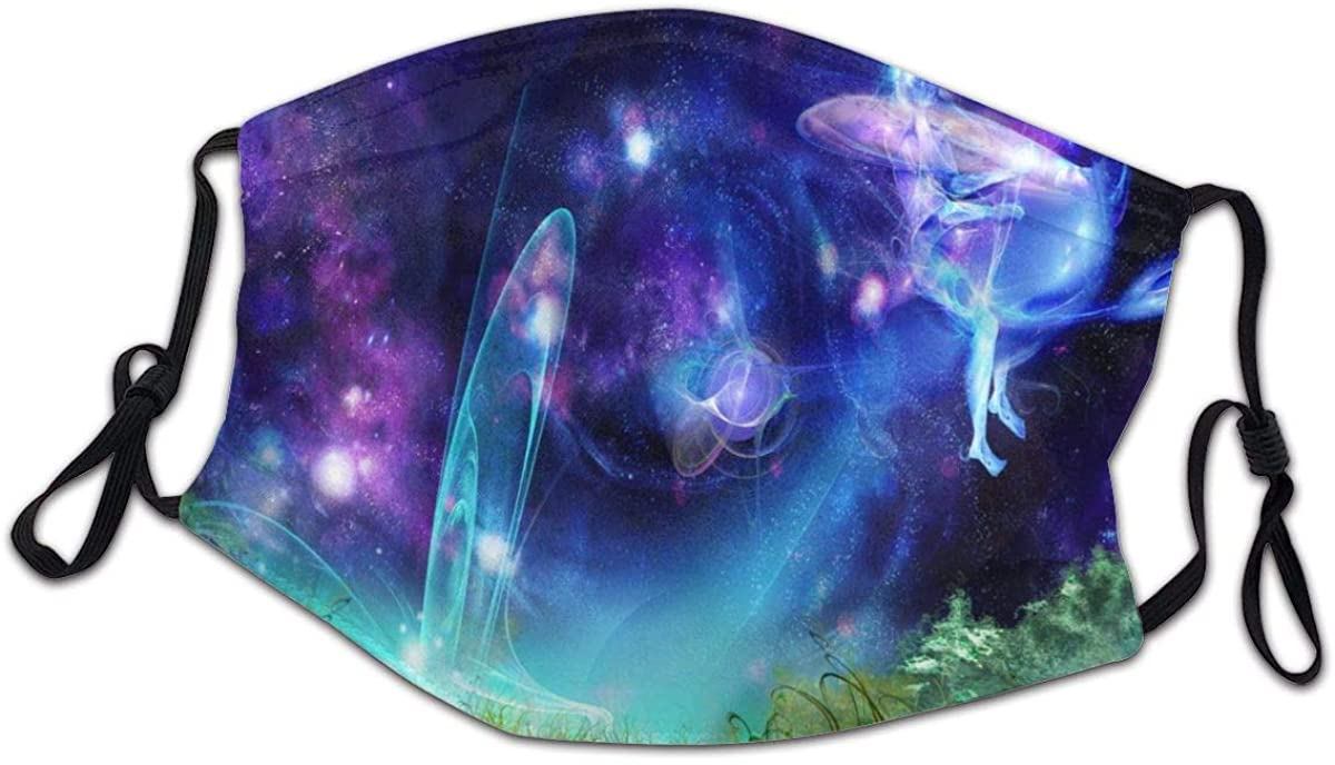 Fairy-Tale Picture Blue Galaxy Face Bandanas for Kids Boys Girls Dust-Proof Facial Protective