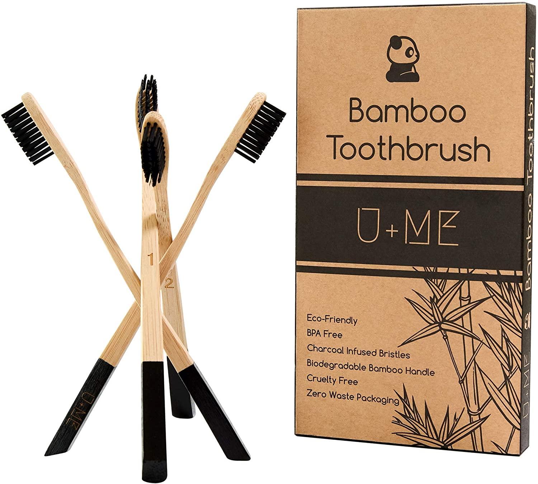 U+ME Bamboo Toothbrush 4 Pack | Charcoal Wooden Toothbrush | Eco Friendly | Zero Waste | Vegan | Sustainable | Natural | Black Toothbrush Bristles