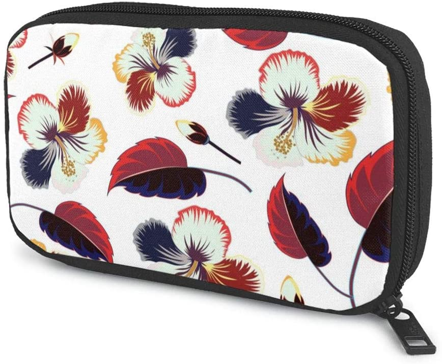 Travel Cable Organizer Bag Spectacular Flowers and Leaves Electronics Accessories Pouch Bag Carrying Case Protective Bank Pouch Storage Bag for Hard Drives, Cable, Charger, Phone, USB, SD Card