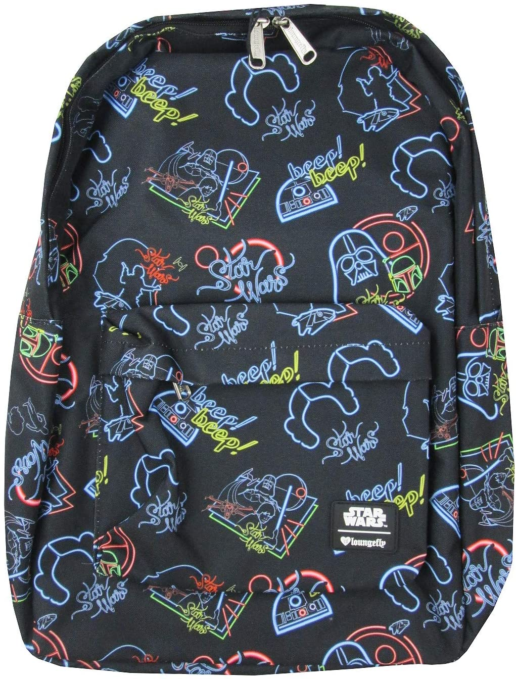 Loungefly Star Wars Character Neon Print Backpack (One_Size, Black)