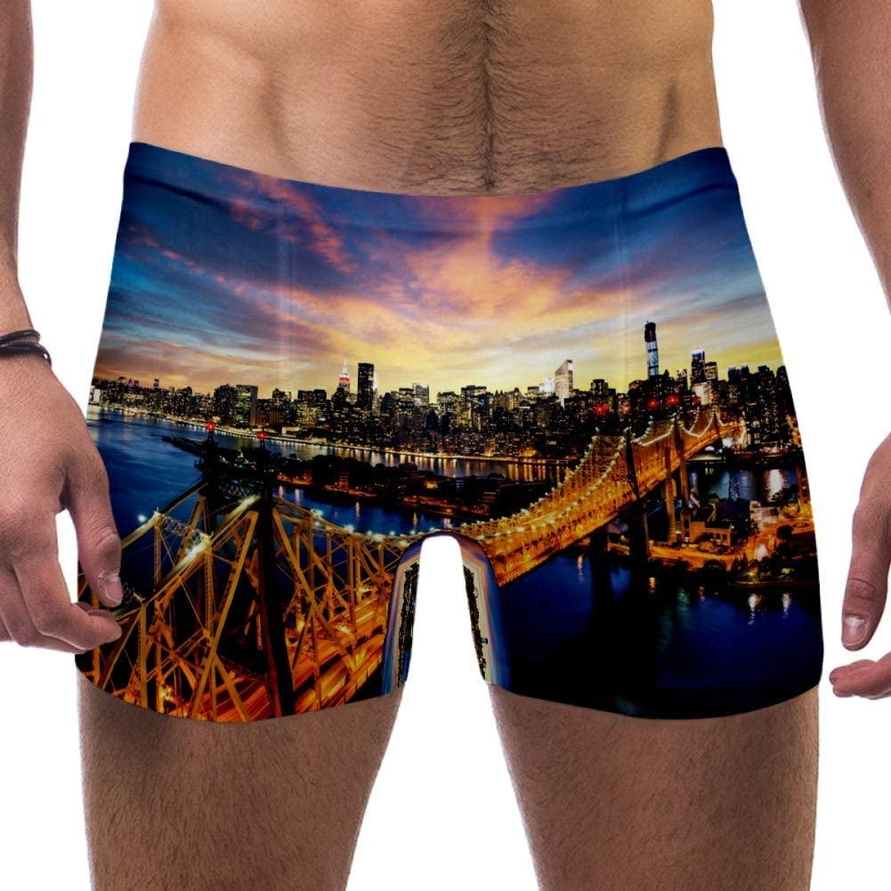 Mens New York City Amazing Sunset Over Swimsuits Swim Trunks Shorts Athletic Swimwear Boxer Briefs Boardshorts