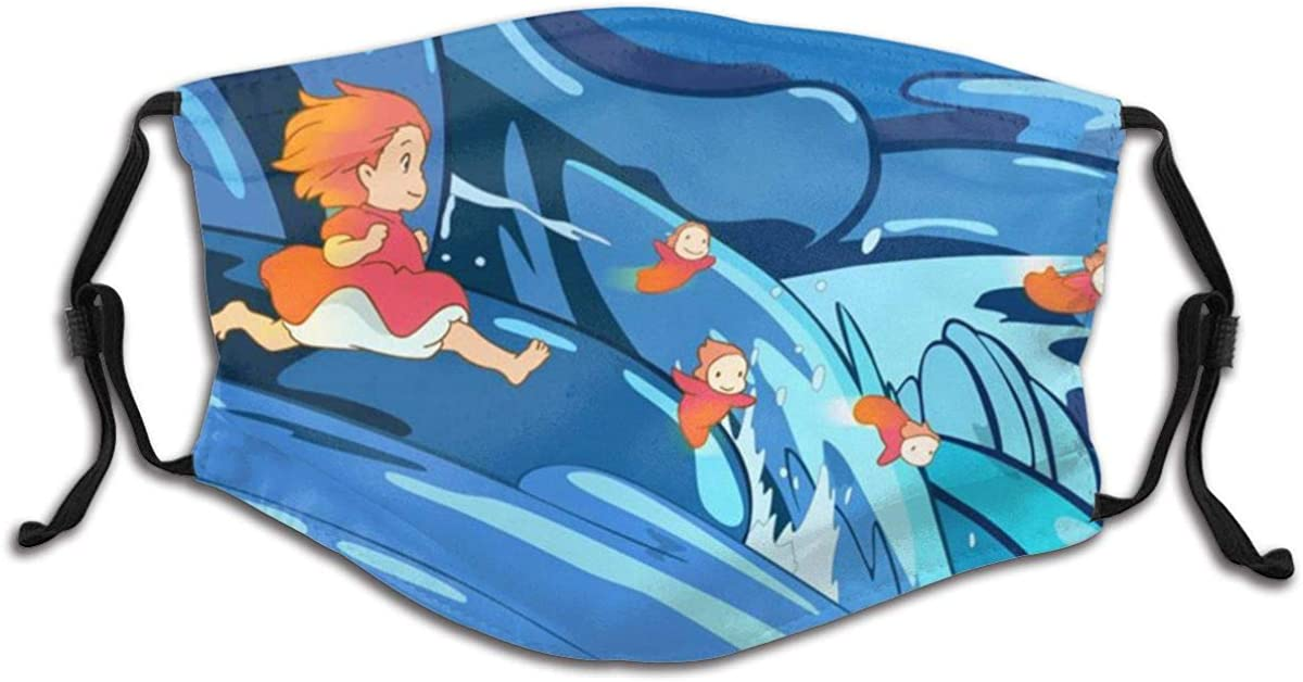 Ponyo On The Cliff by The Sea Child Kids Teenager Mask with Filter Masks Uv Protection Health Dust Masks Suit for Hospital