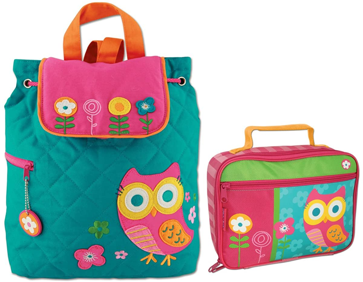 Stephen Joseph Girls Quilted Owl Backpack and Lunch Box