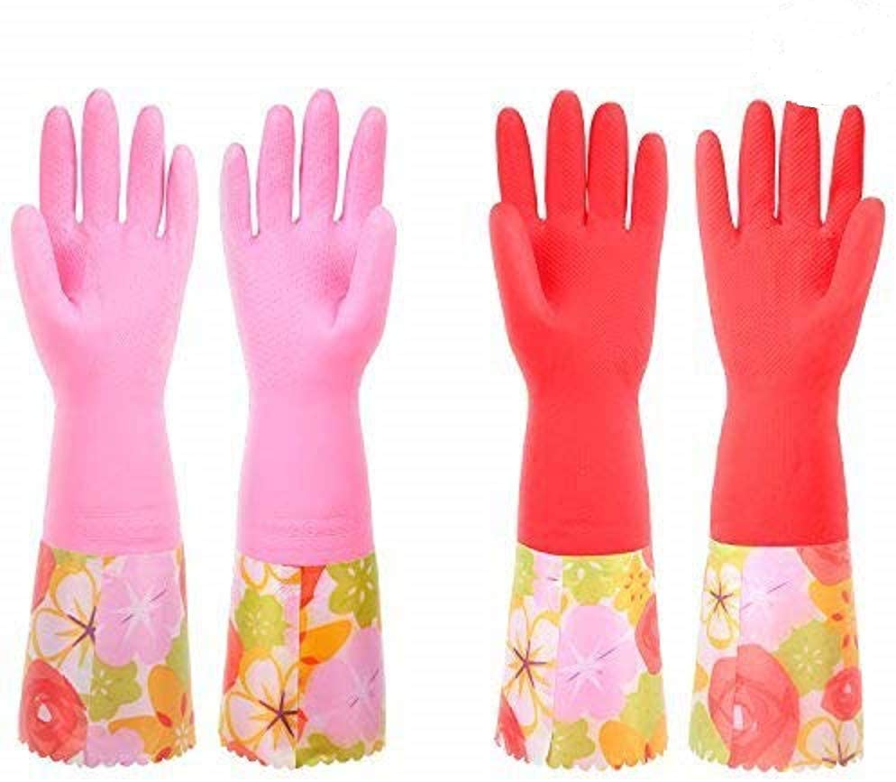 4 Piece Kitchen Latex Gloves for Dish Washing & Household Cleaning with Fancy PVC Cuff /2 Pairs